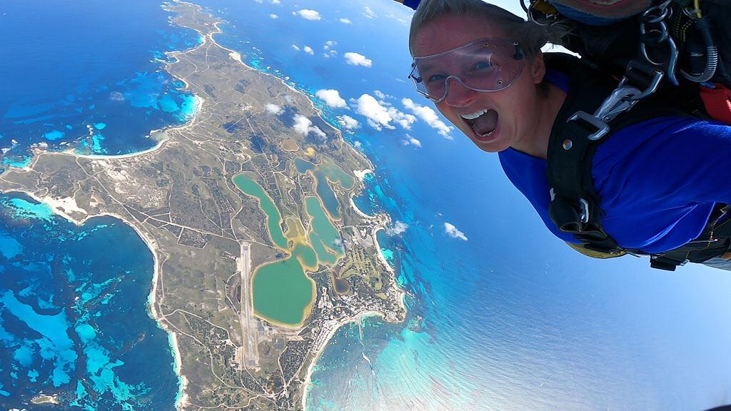 Engel tandem-skydiving over Rottnest Island on a clear sunny day