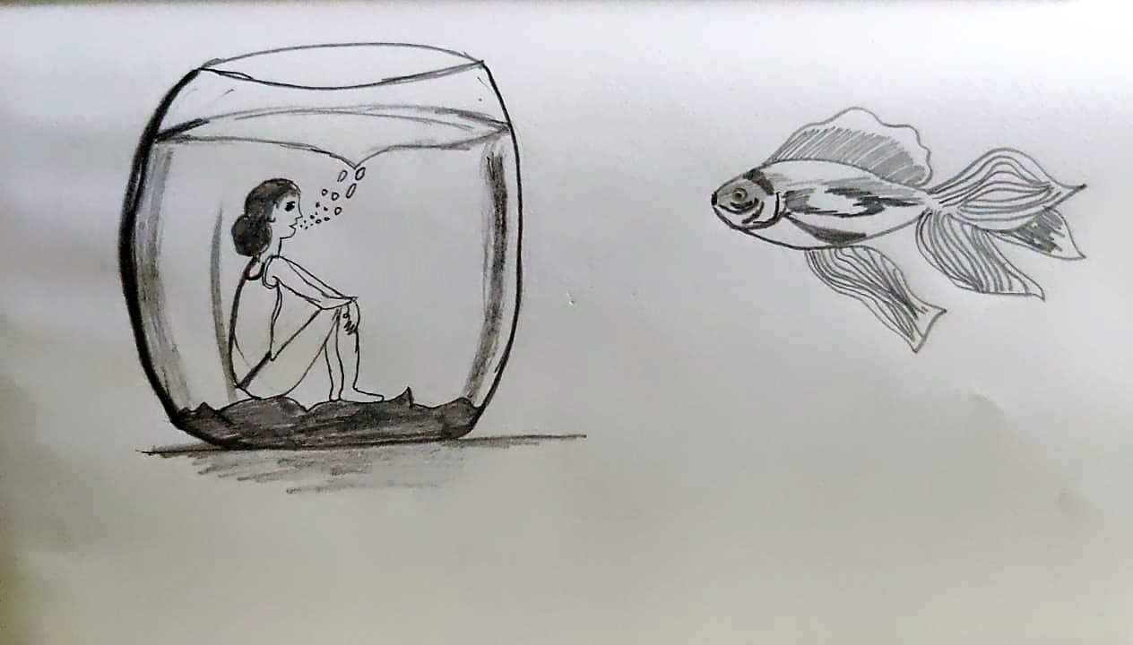 Sketch of a girl wearing bathers, sitting in a fish and bowl blowing bubbles, while a fish watches from the outside.